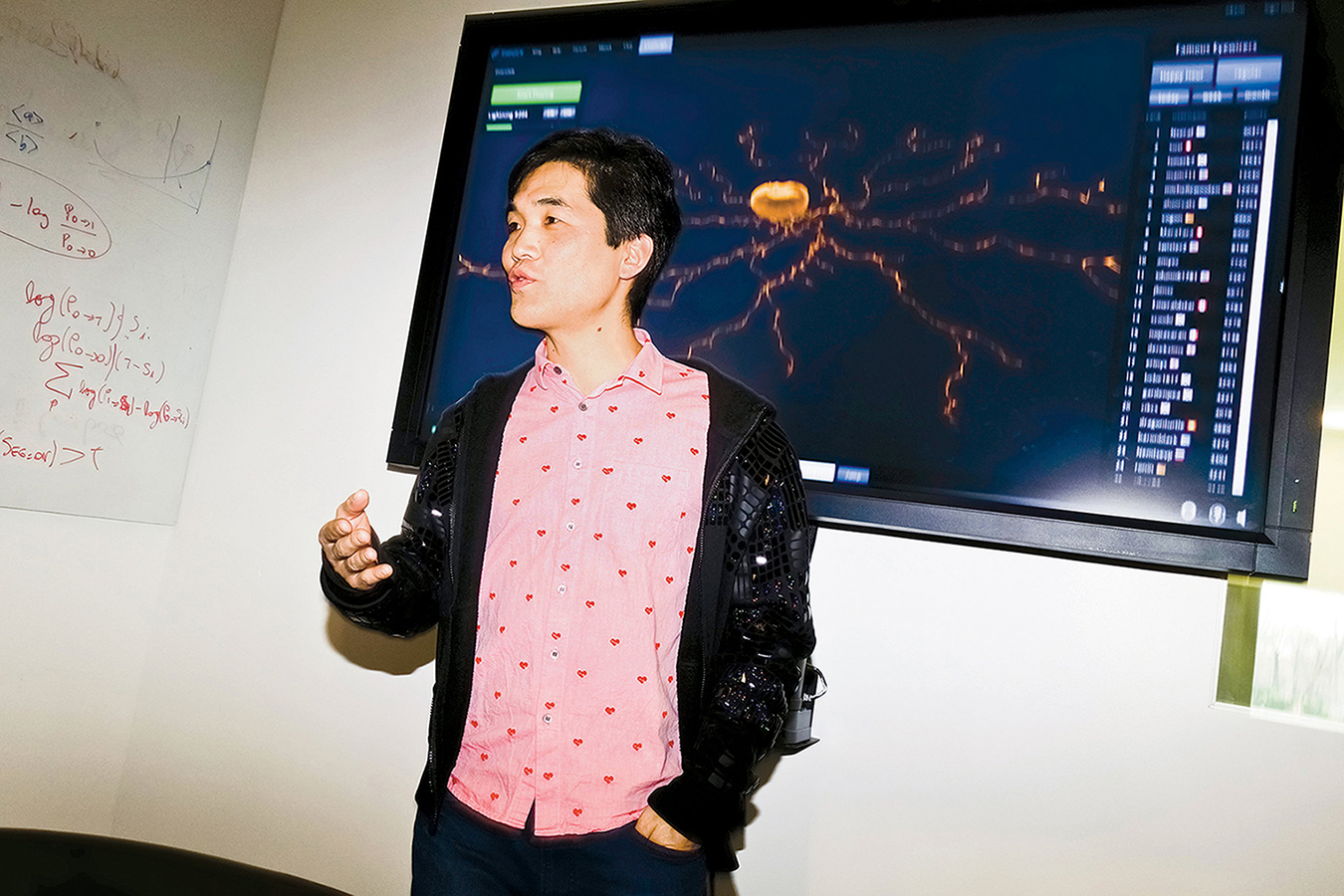 Seung discussing his mapping game, EyeWire, at Princeton. {Credit: Dolly Faibyshev for The New York Times}